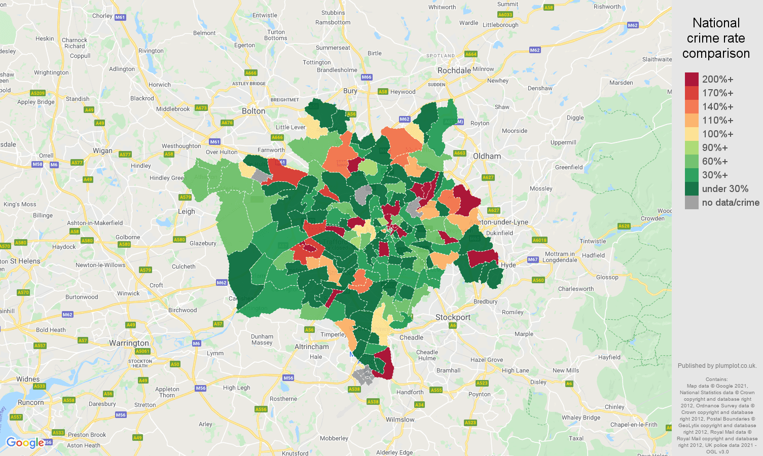 Manchester shoplifting crime rate comparison map