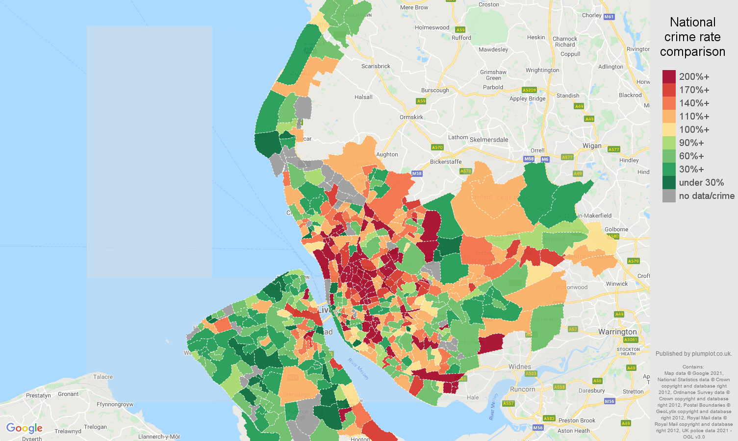 Merseyside burglary crime rate comparison map