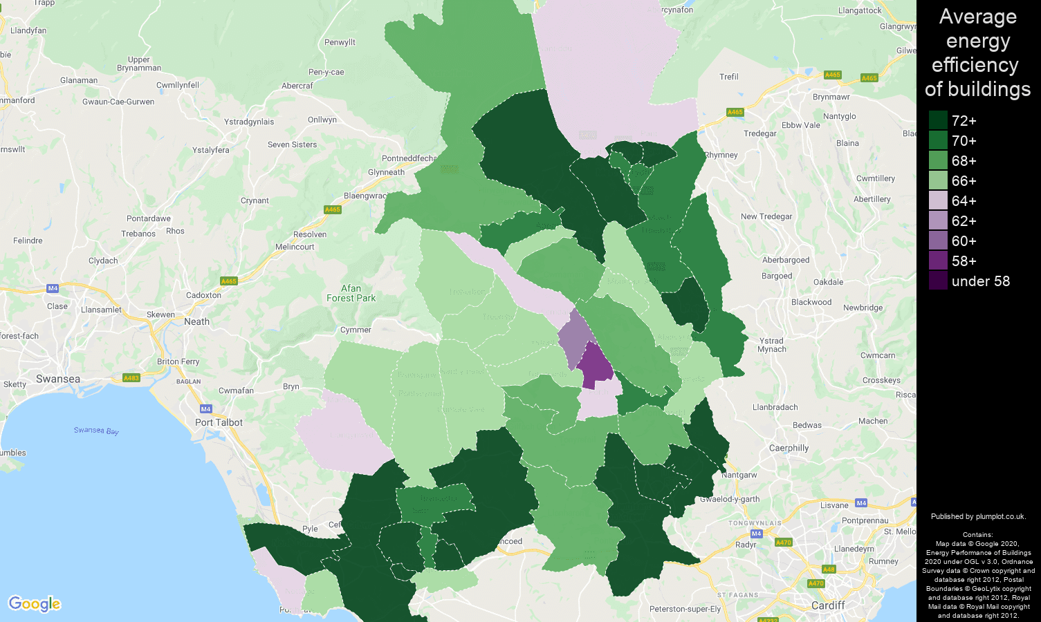 Mid Glamorgan map of energy efficiency of flats