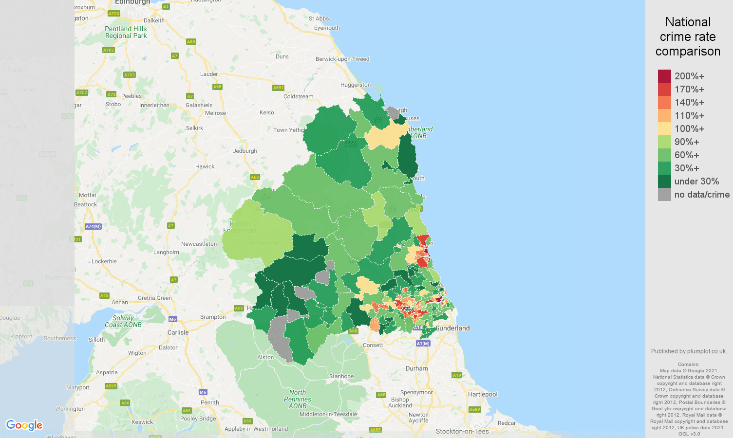 Newcastle upon Tyne burglary crime rate comparison map