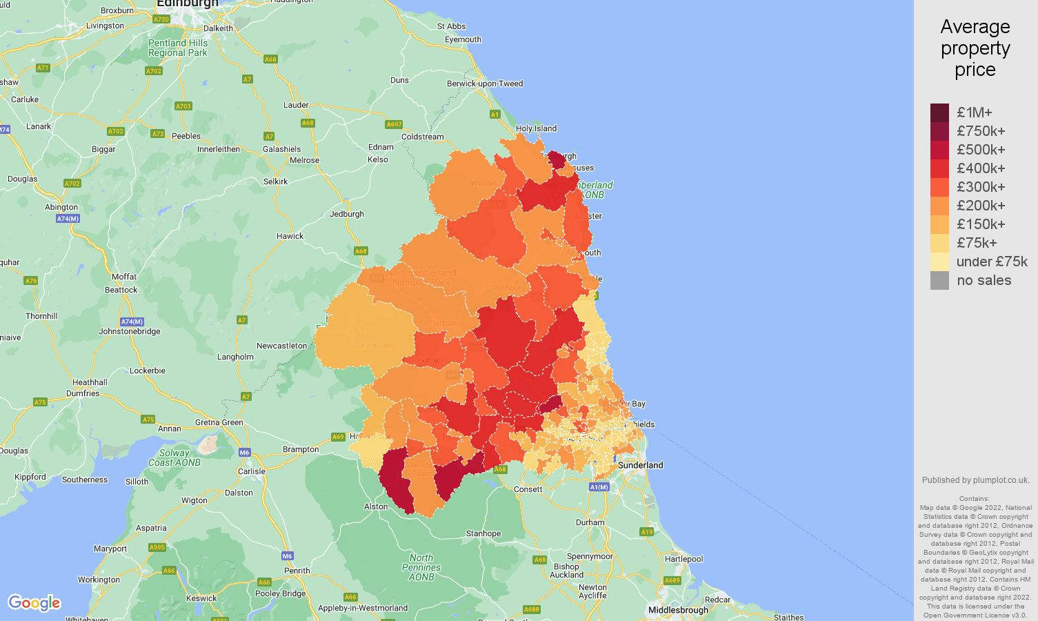 Newcastle upon Tyne house prices map