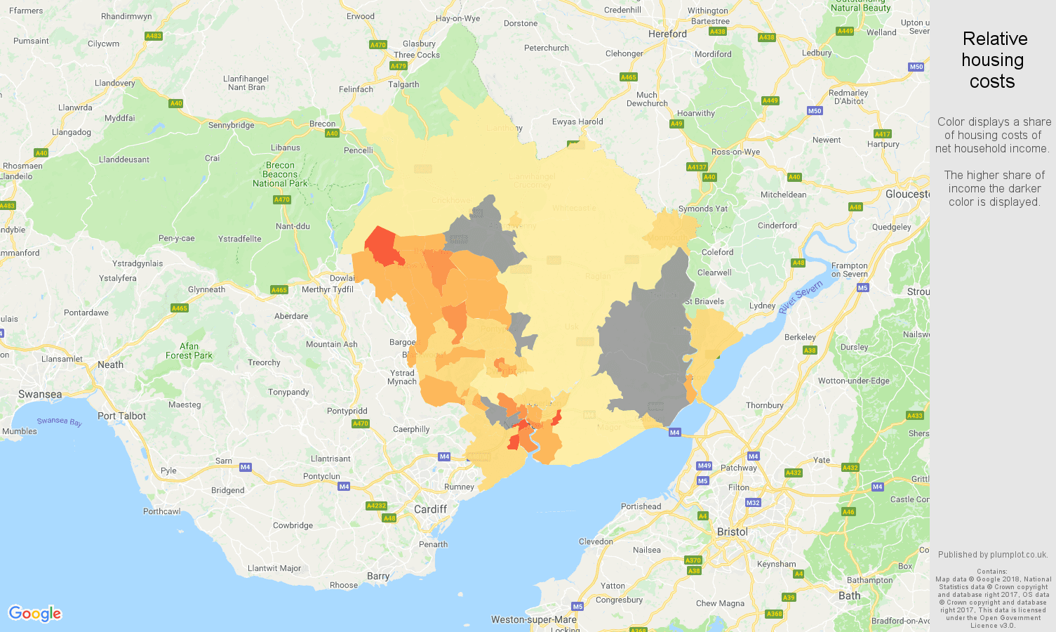 Newport relative housing costs map