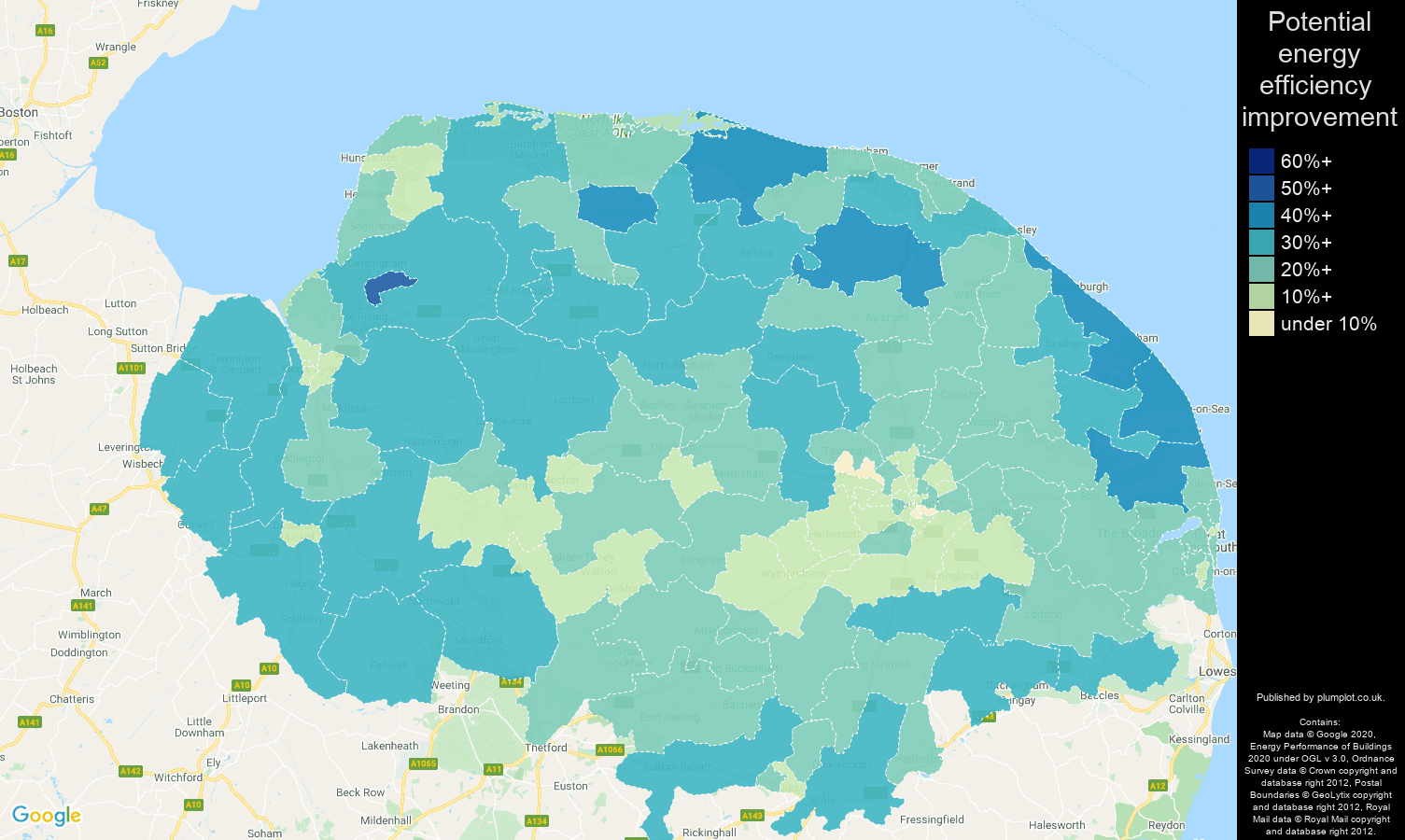 Norfolk map of potential energy efficiency improvement of properties