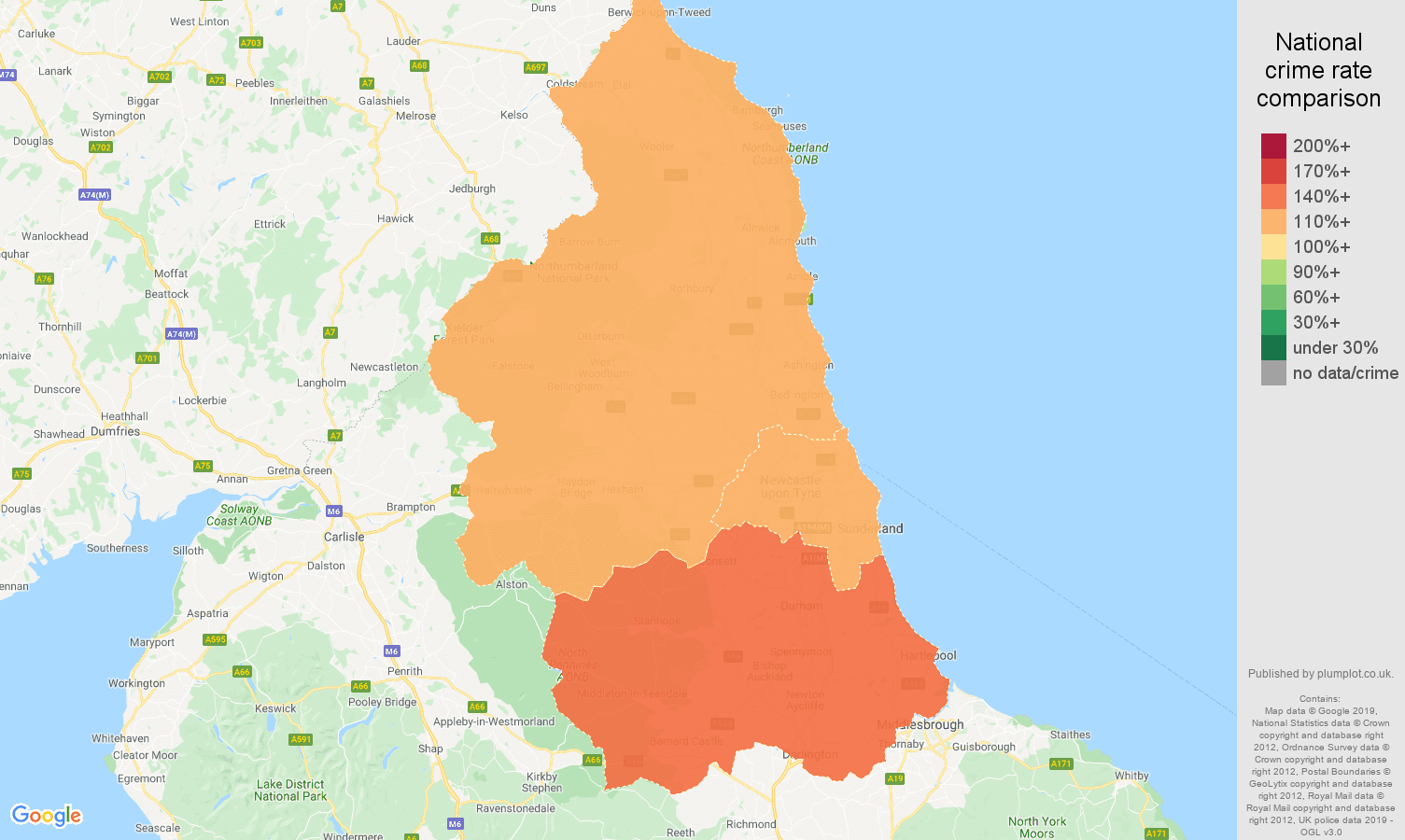 North East other crime rate comparison map