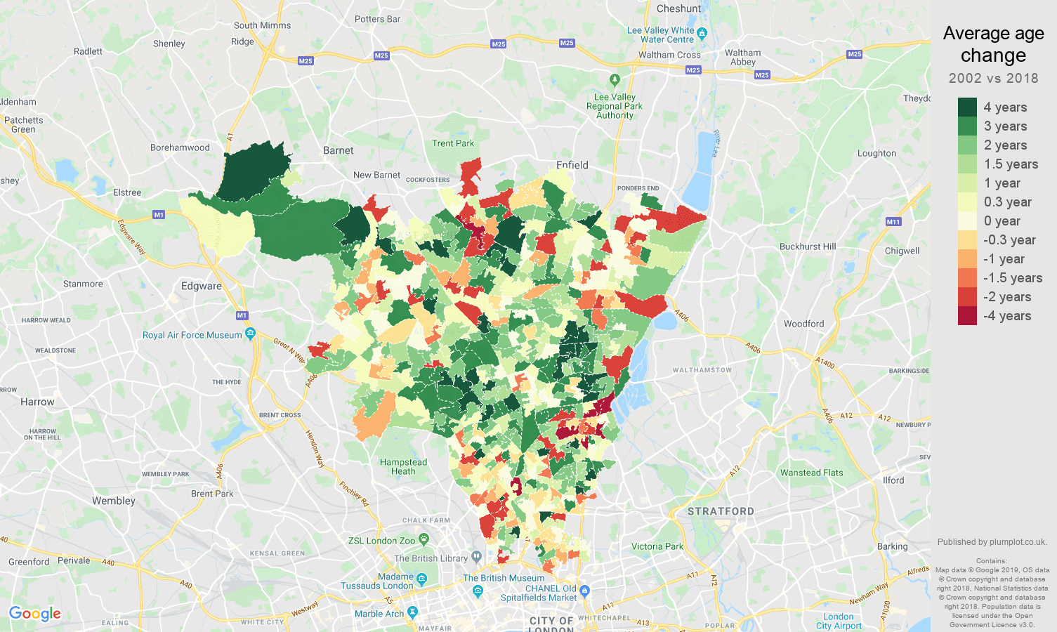 North London average age change map