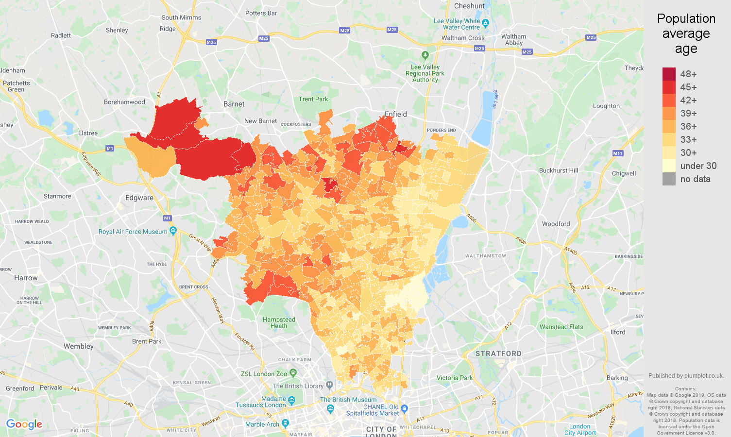 North London population average age map