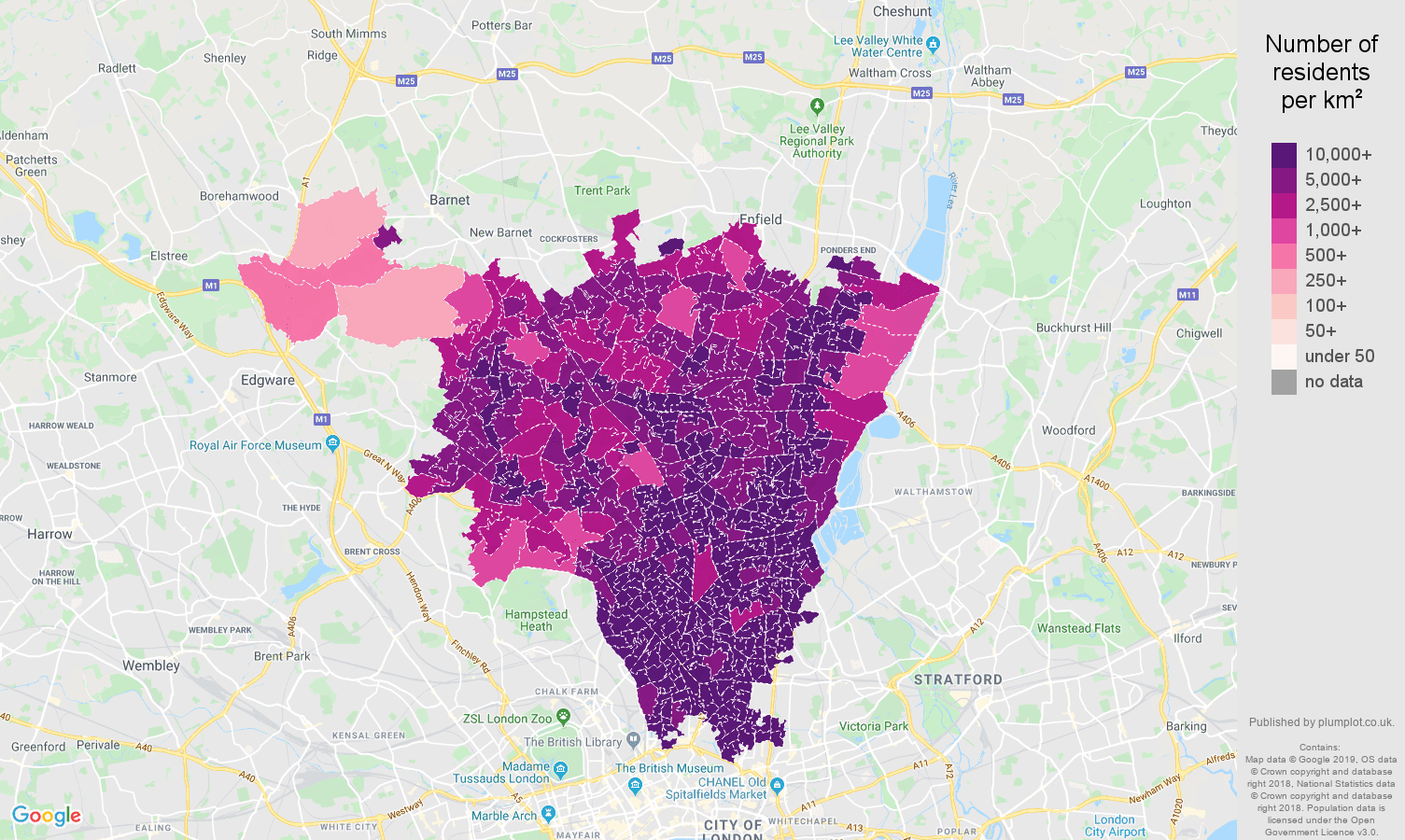 North London population density map
