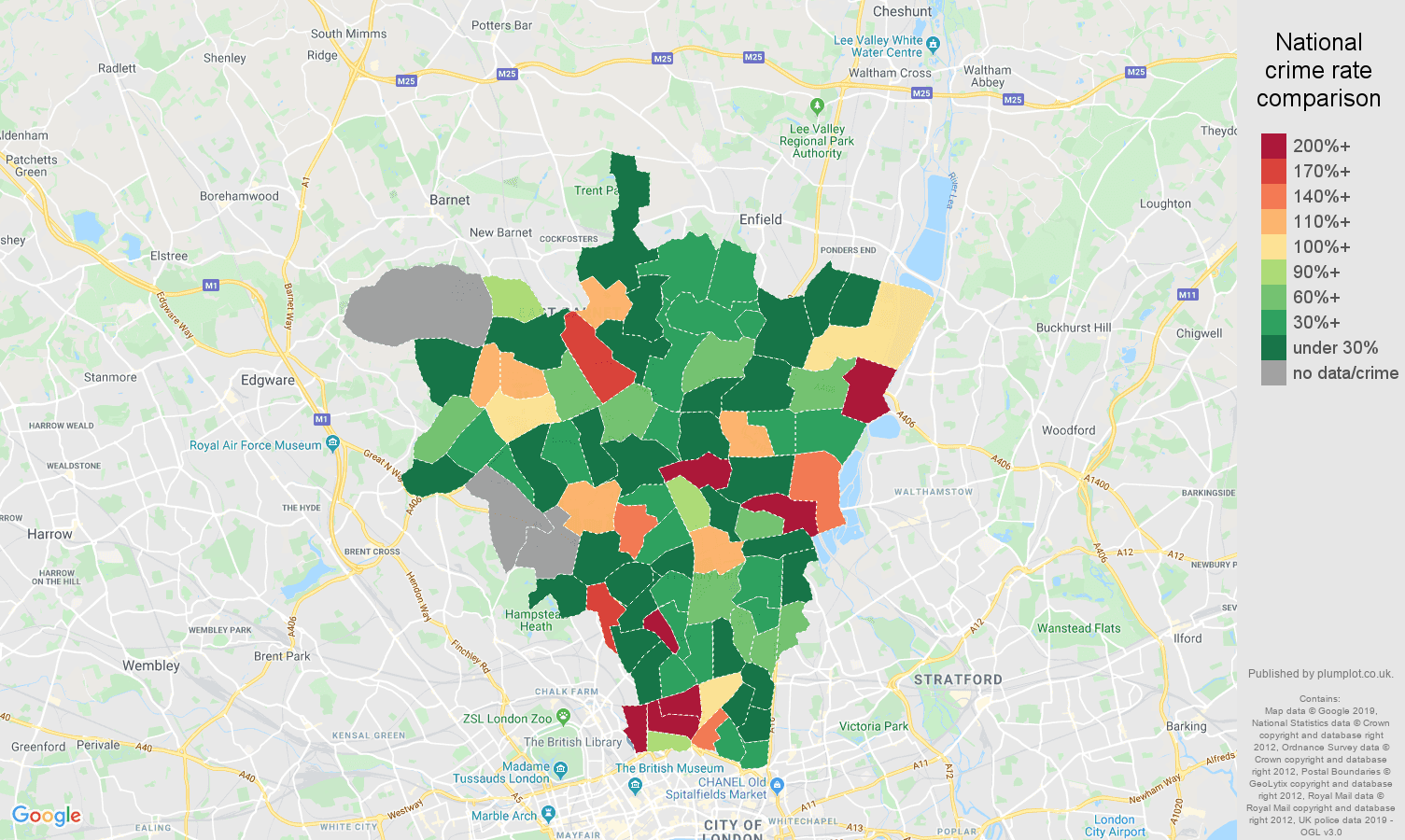 North London shoplifting crime rate comparison map