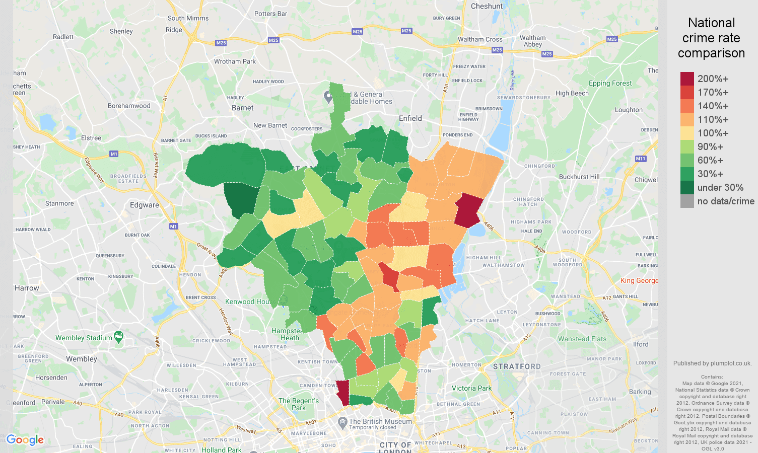 North London violent crime rate comparison map
