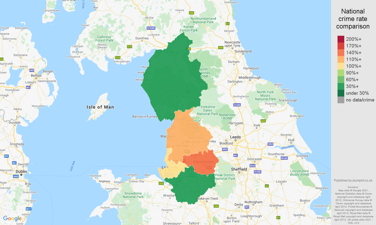 North West burglary crime rate comparison map