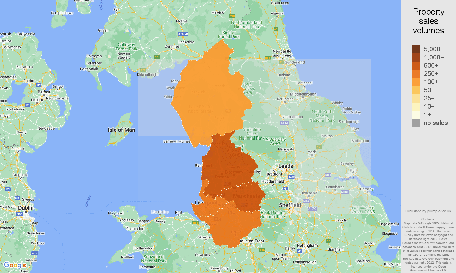 North West map of sales of new properties