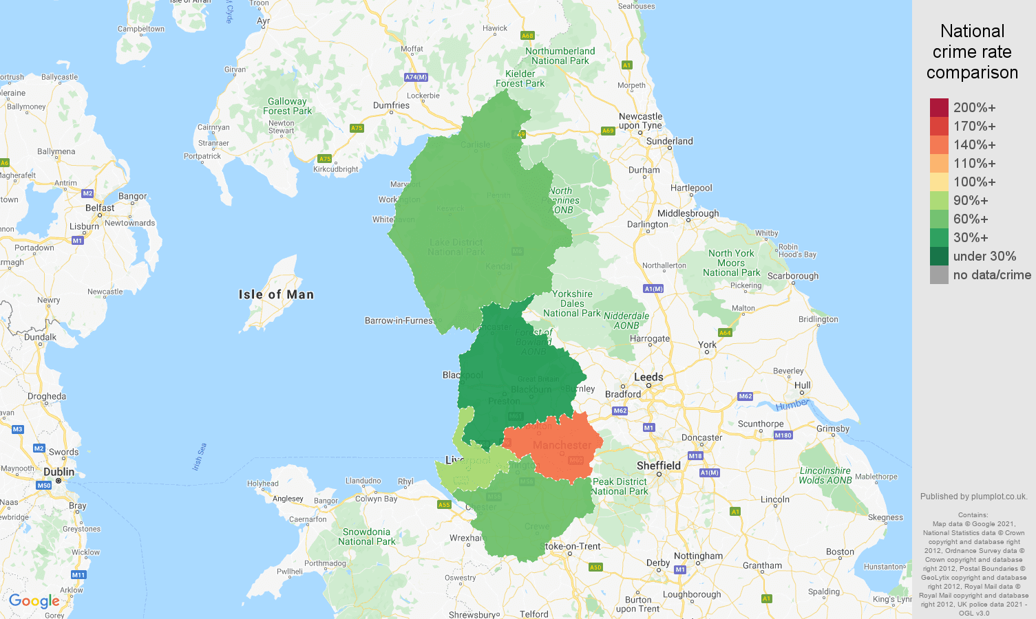 North West possession of weapons crime rate comparison map