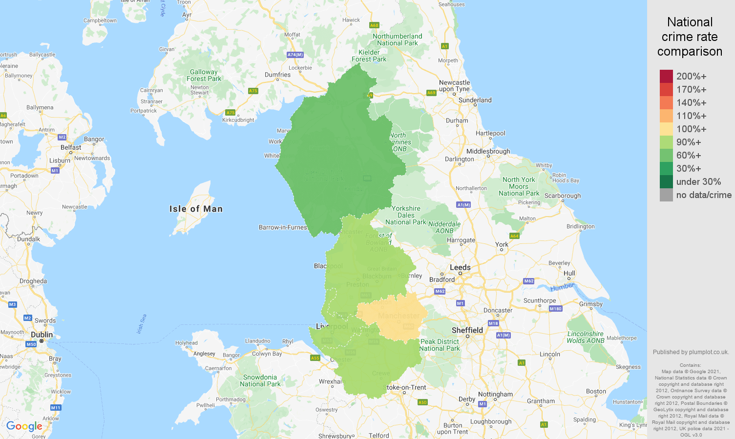 North West shoplifting crime rate comparison map