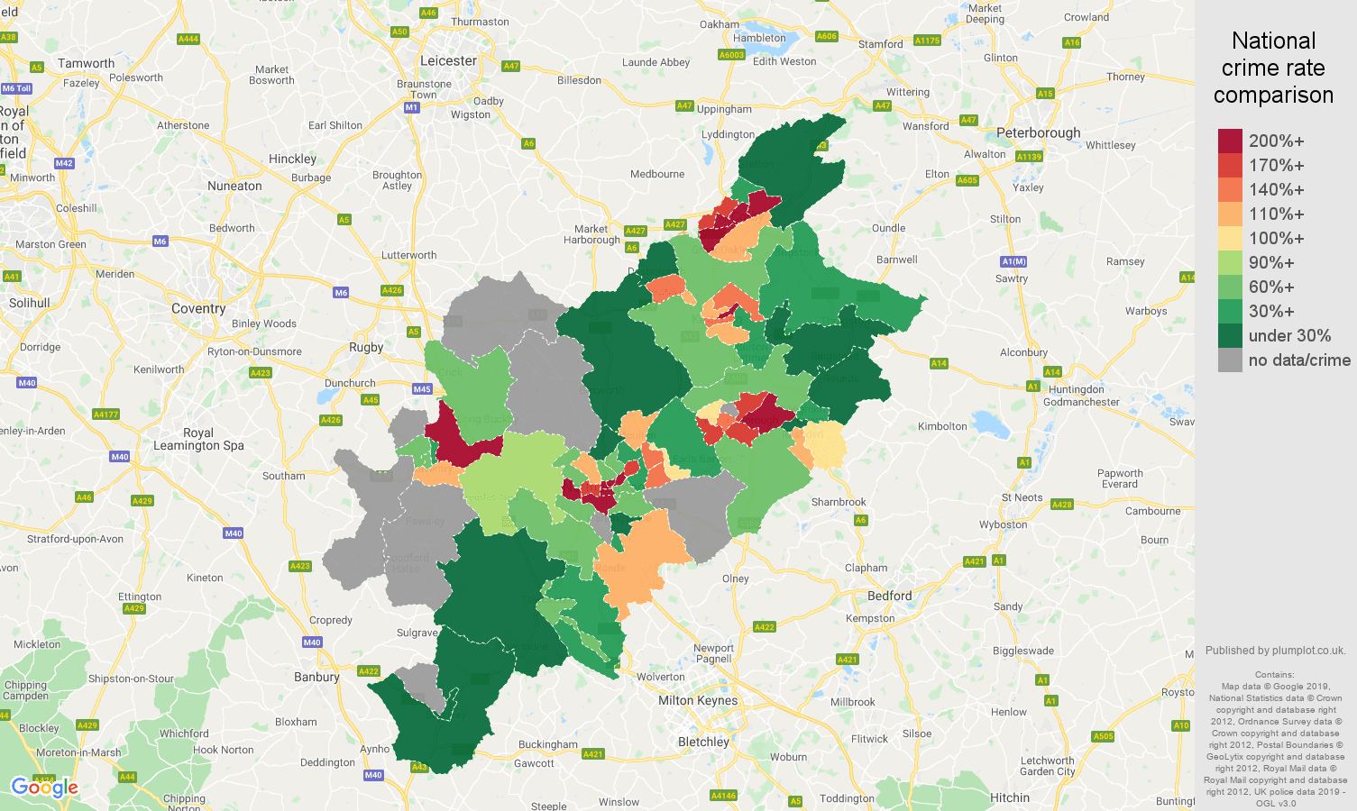 Northampton possession of weapons crime rate comparison map