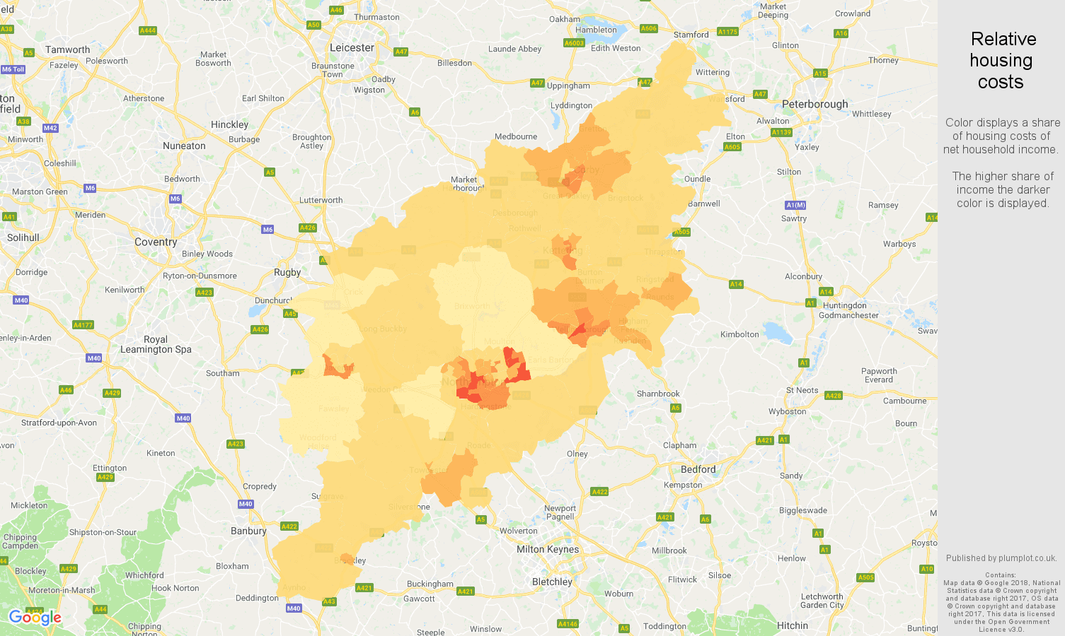 Northampton relative housing costs map