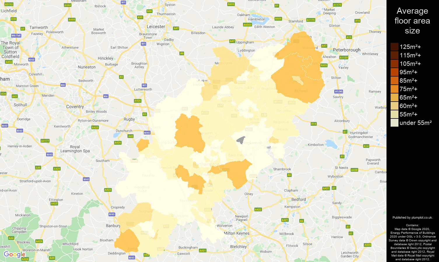 Northamptonshire map of average floor area size of flats