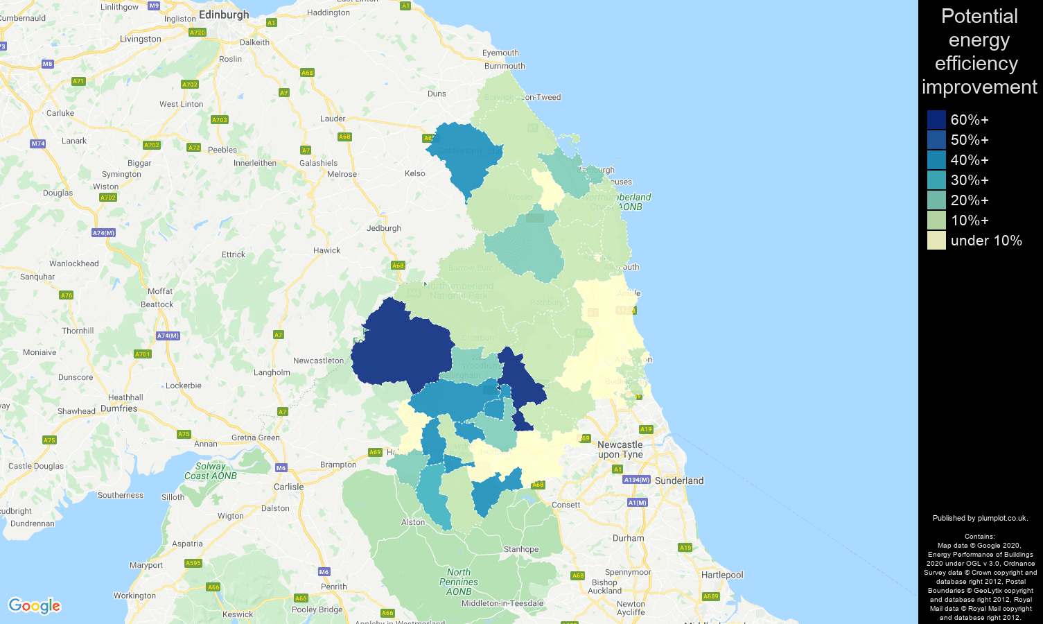 Northumberland map of potential energy efficiency improvement of flats