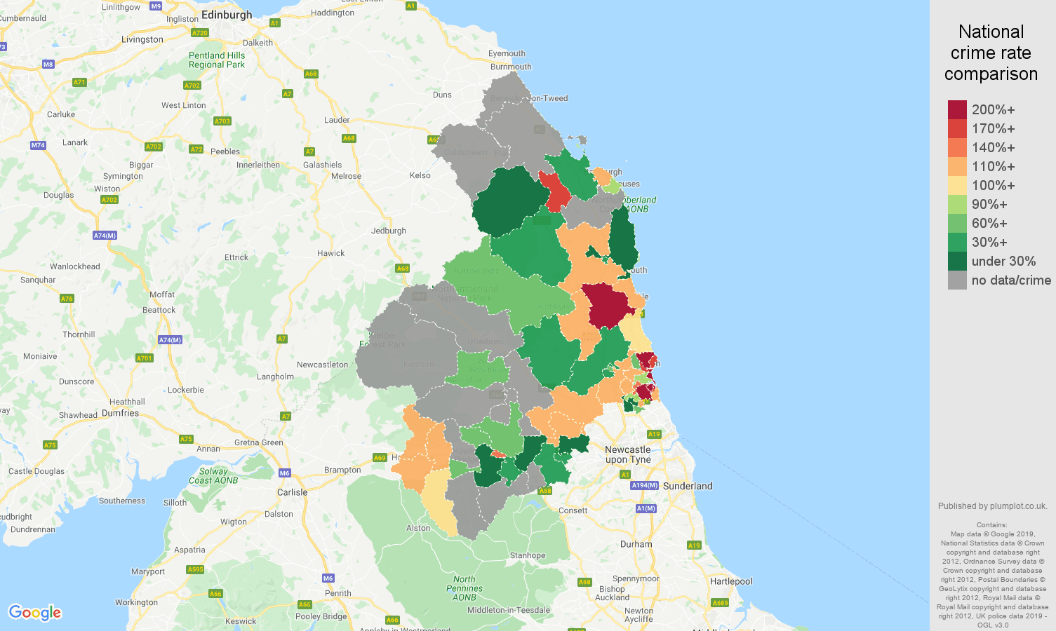 Northumberland other crime rate comparison map