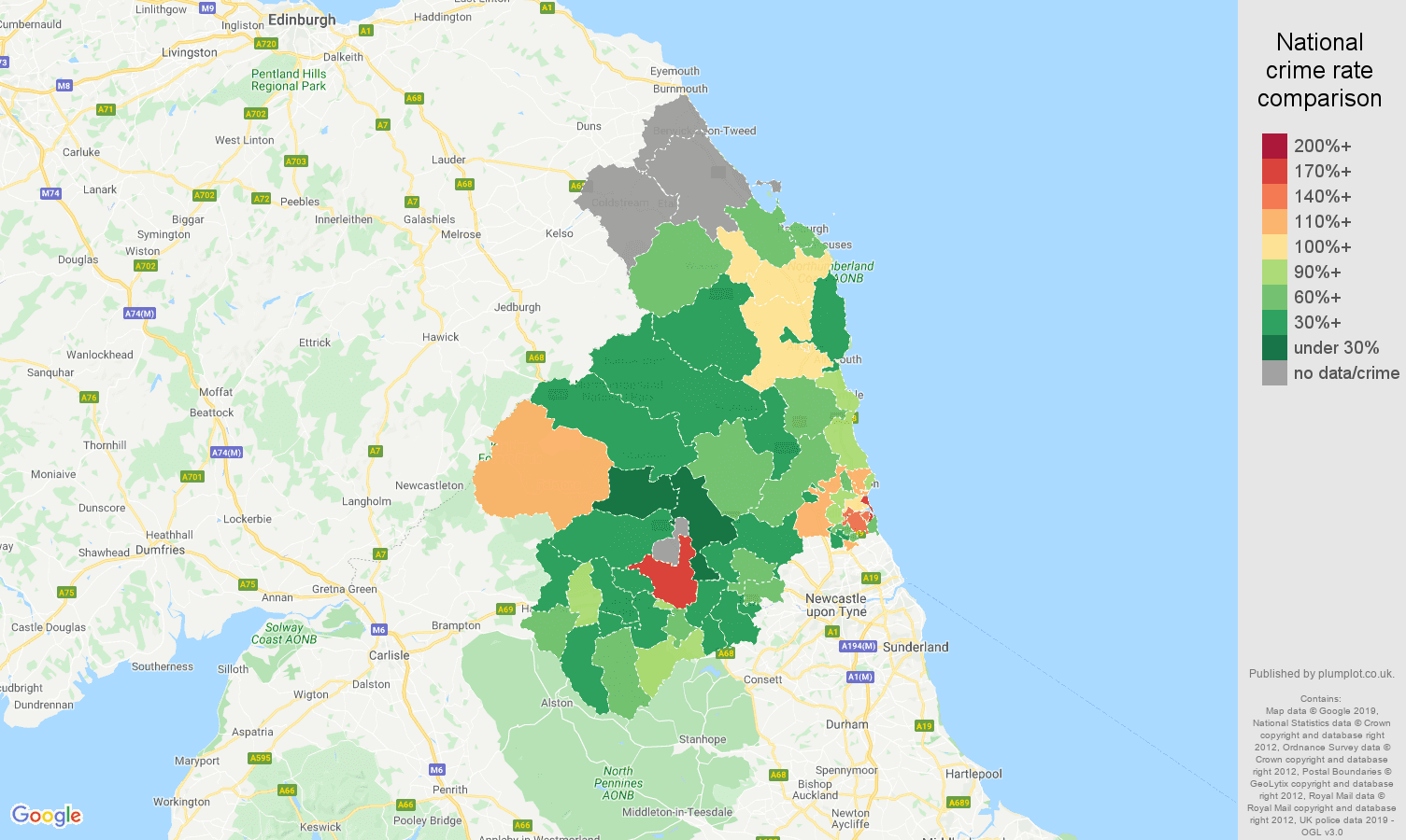 Northumberland other theft crime rate comparison map