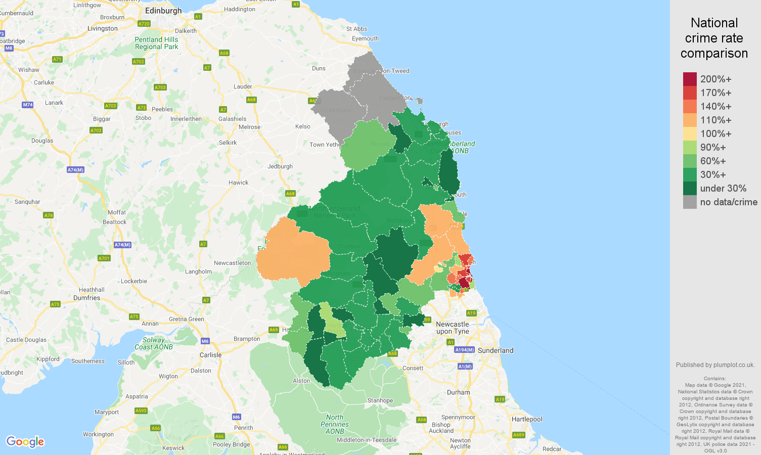 Northumberland violent crime rate comparison map