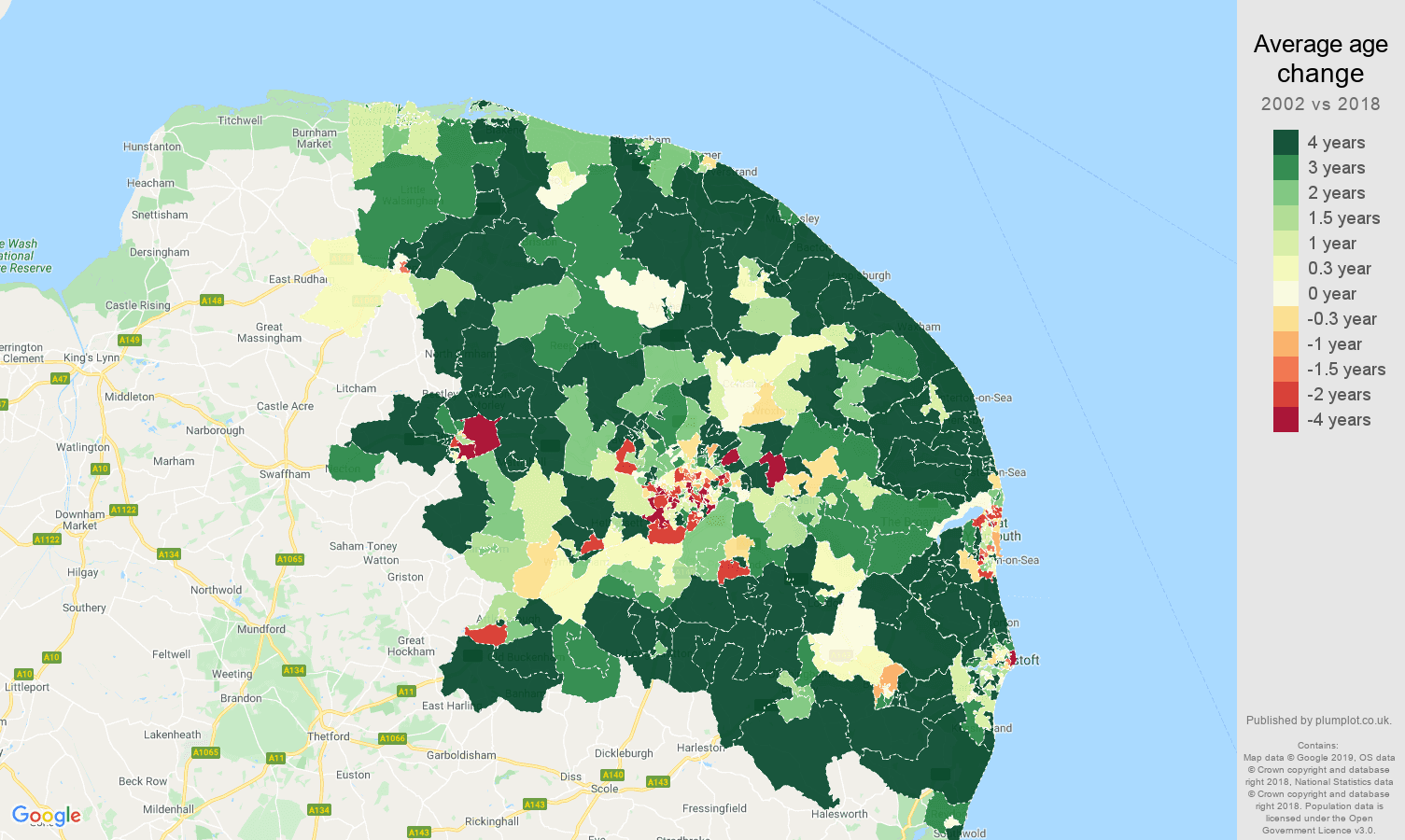 Norwich average age change map