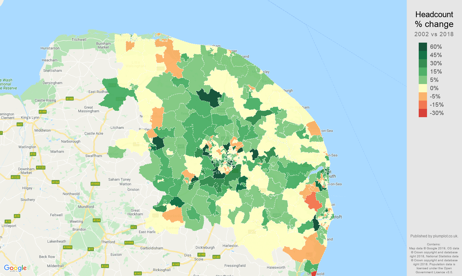 Norwich headcount change map