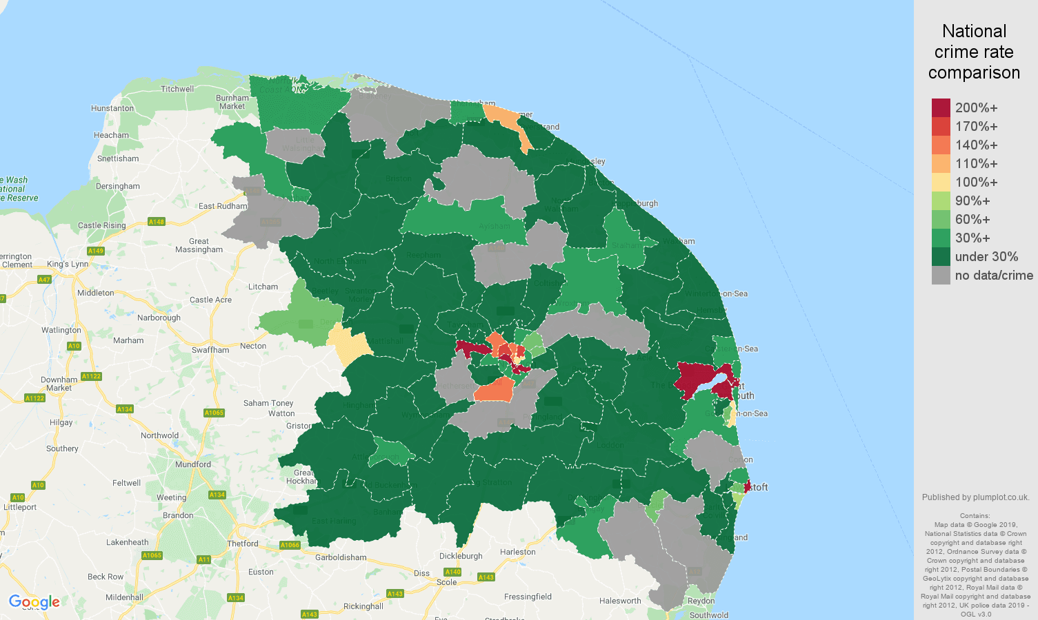 Norwich shoplifting crime rate comparison map