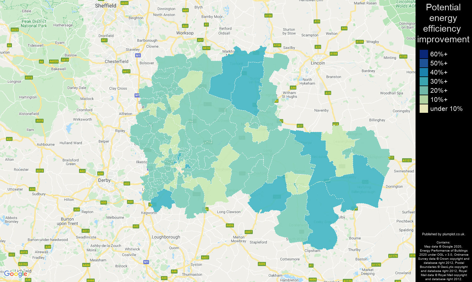 Nottingham map of potential energy efficiency improvement of properties