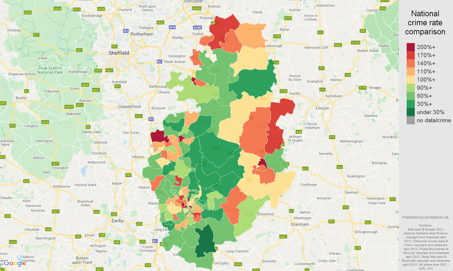Nottinghamshire burglary crime rate comparison map