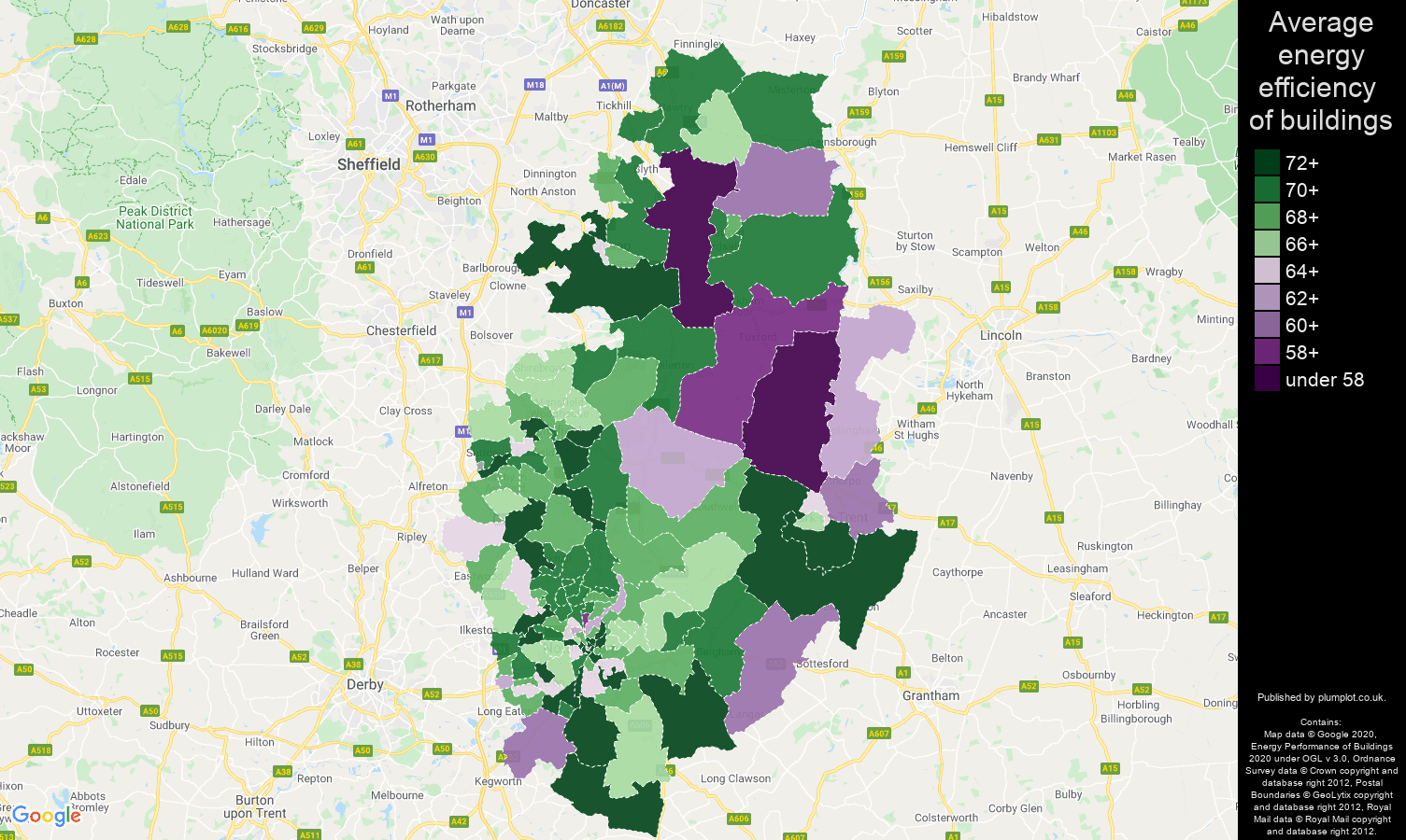 Nottinghamshire map of energy efficiency of flats