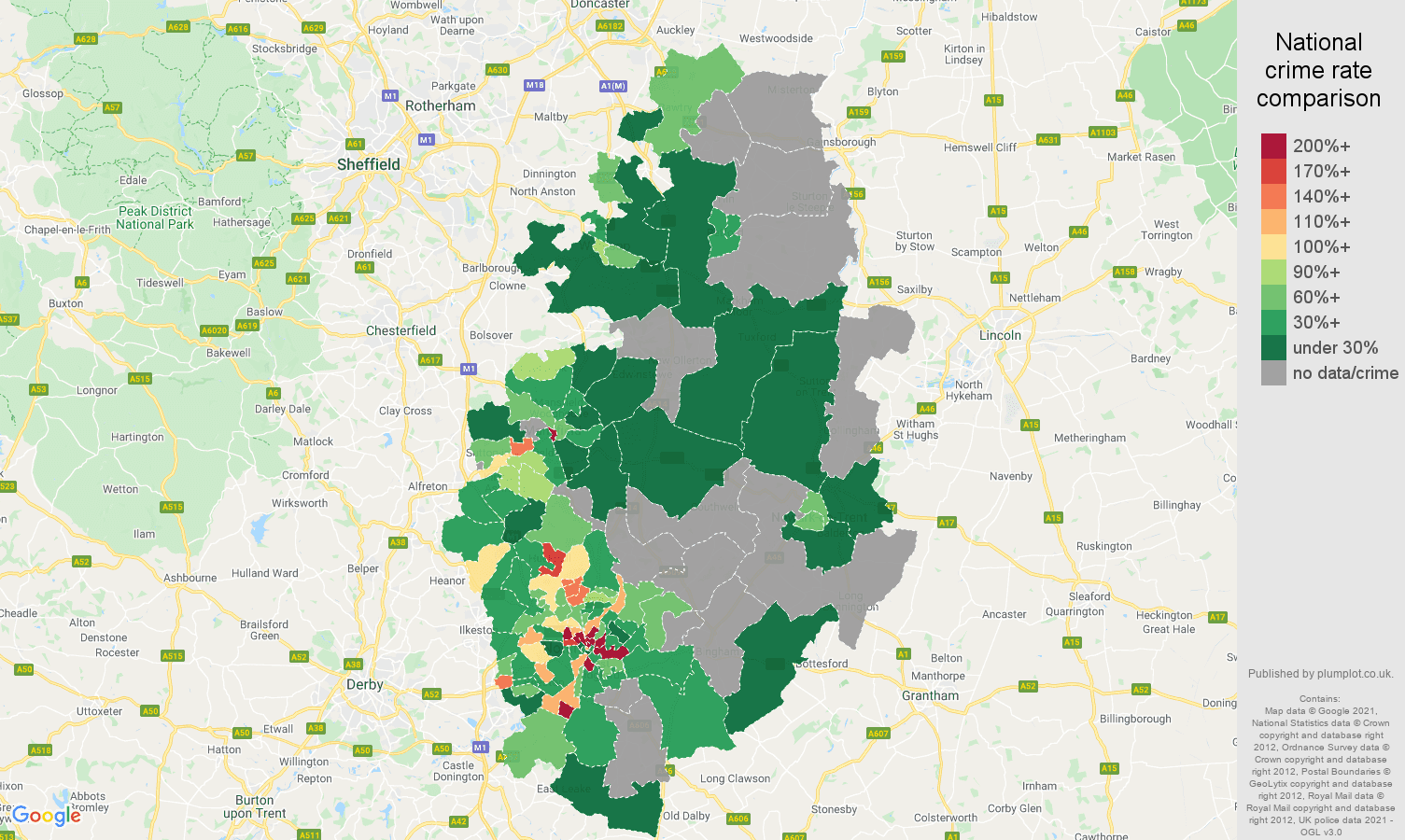 Nottinghamshire robbery crime rate comparison map