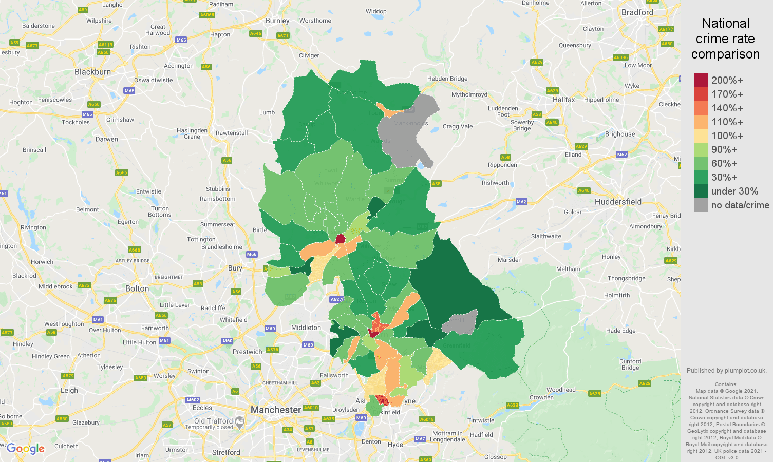 Oldham drugs crime rate comparison map