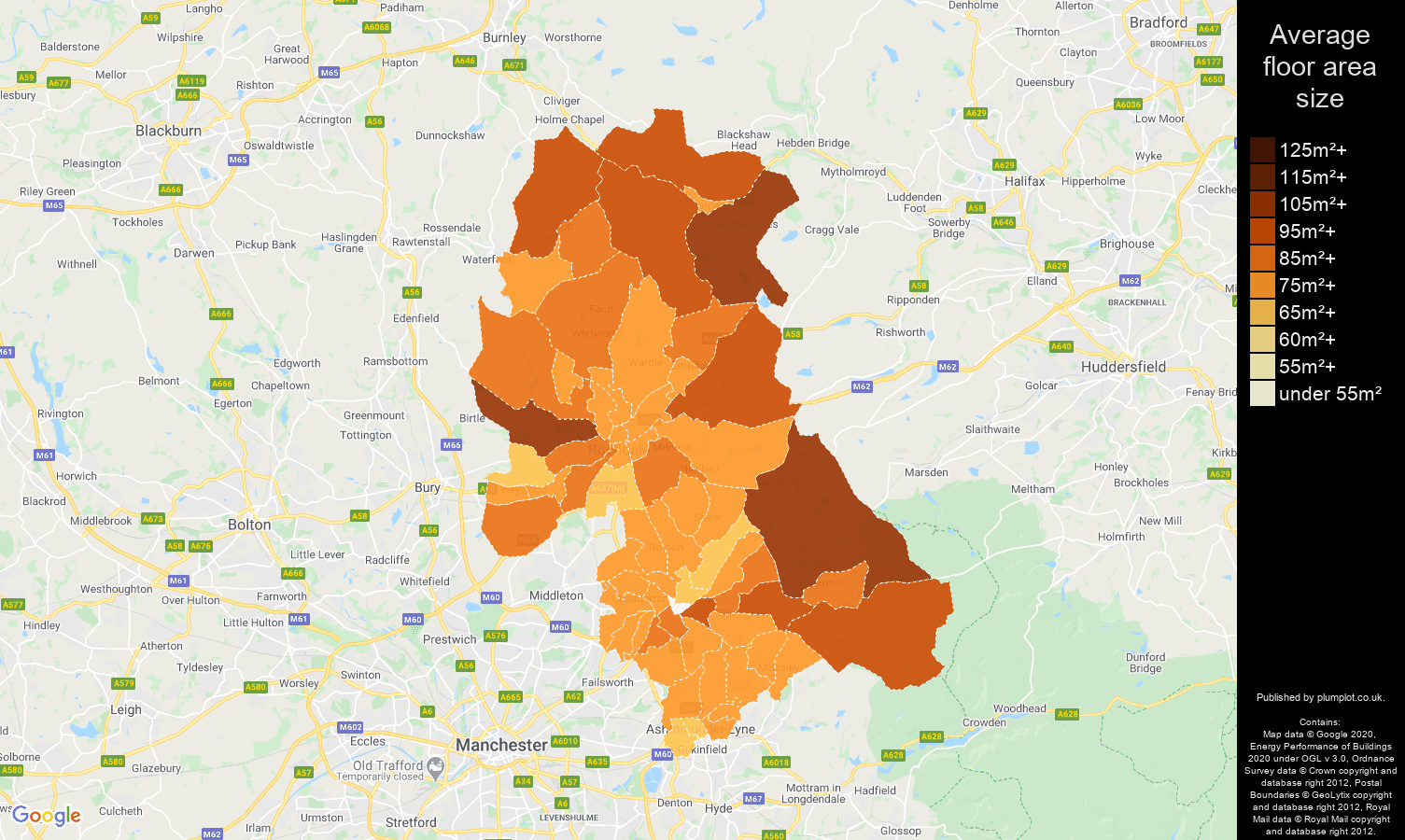 Oldham map of average floor area size of properties
