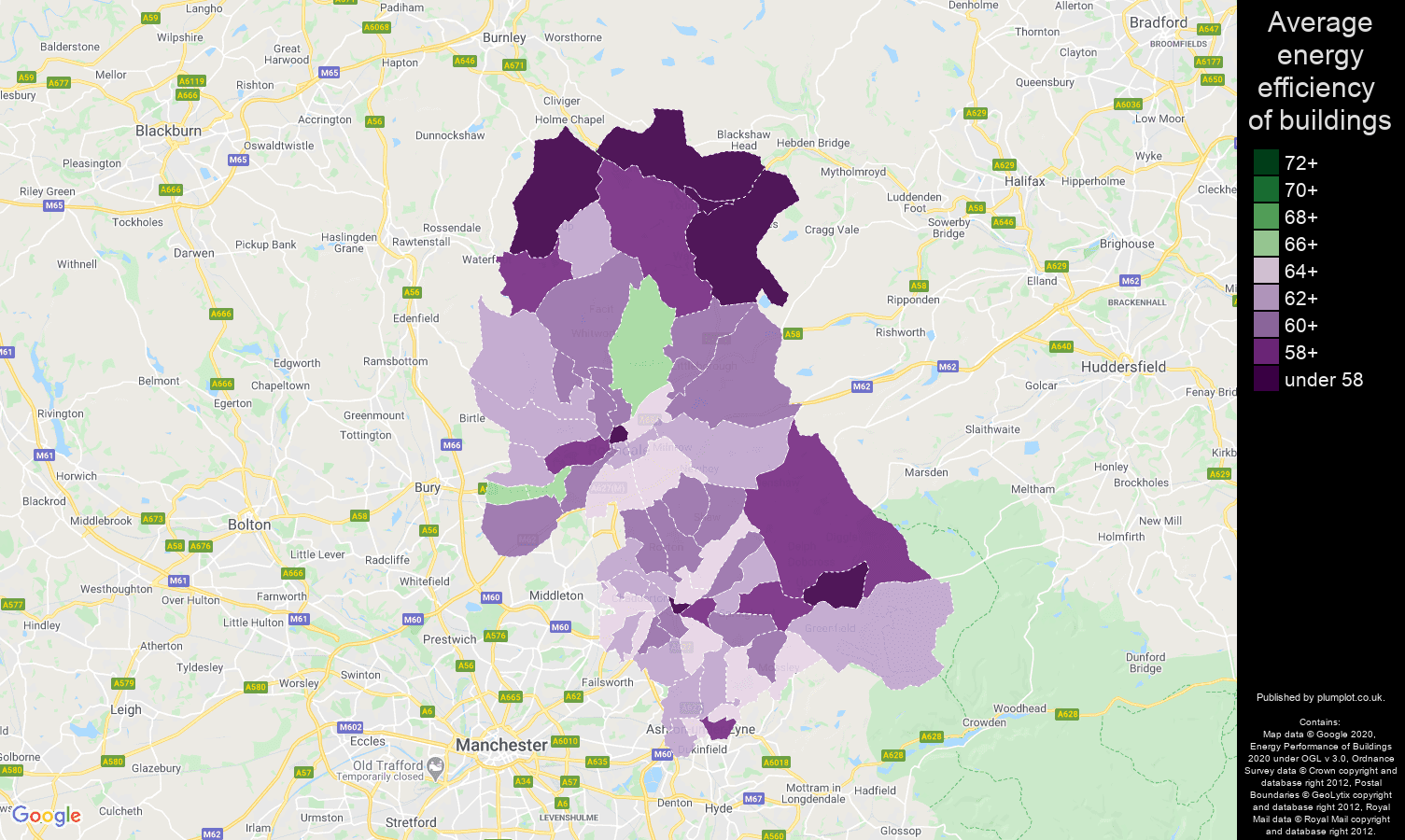 Oldham map of energy efficiency of houses