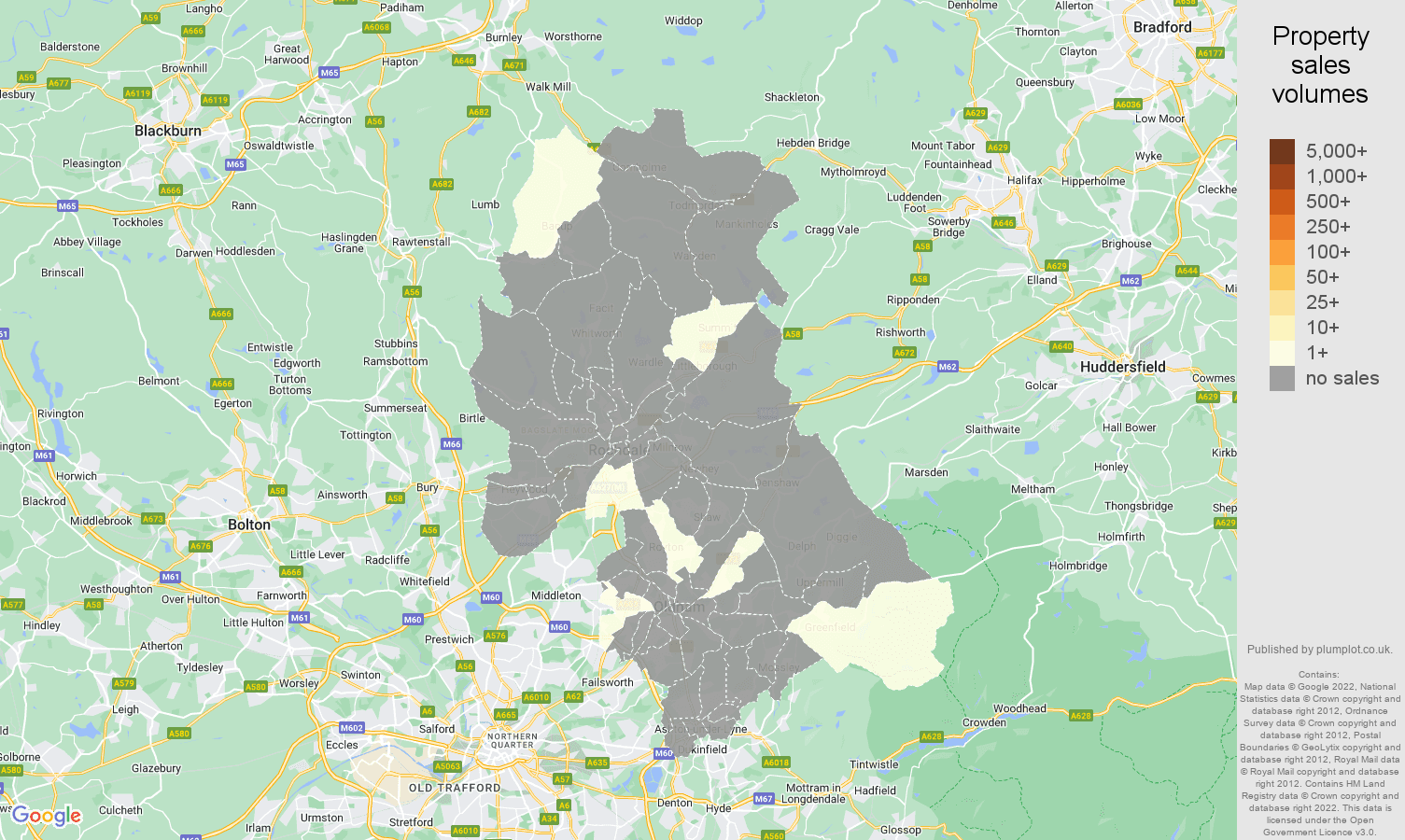 Oldham map of sales of new properties