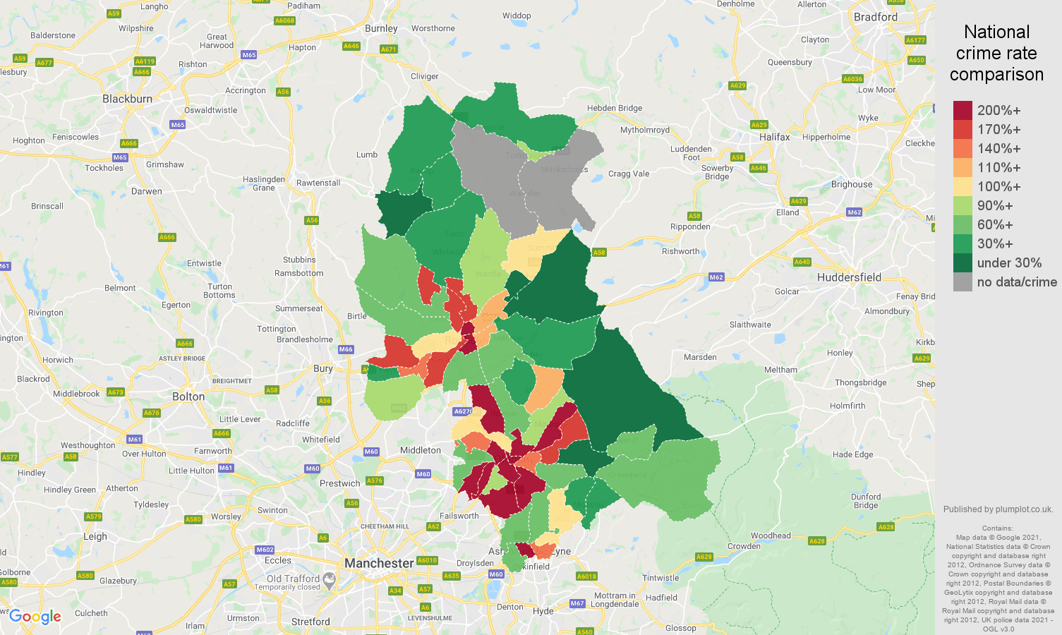 Oldham robbery crime rate comparison map
