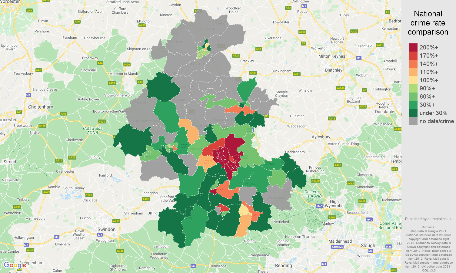 Oxford bicycle theft crime rate comparison map