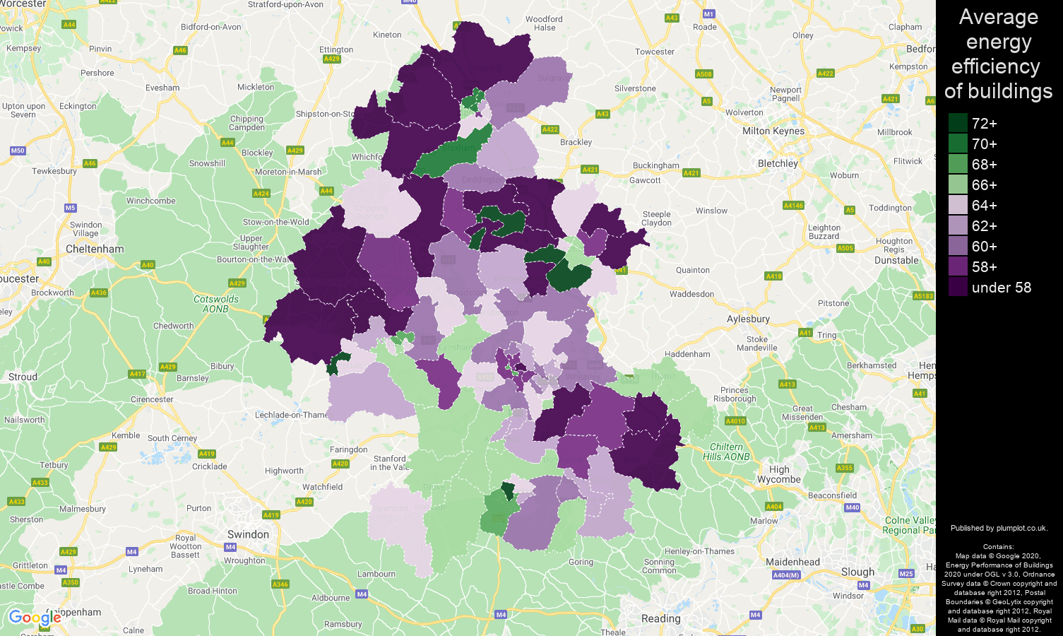 Oxford map of energy efficiency of houses
