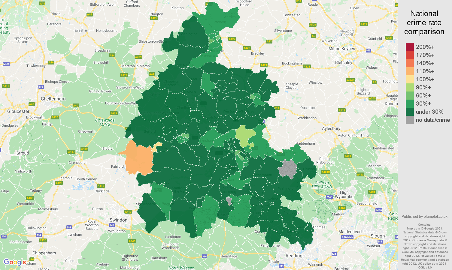 Oxfordshire antisocial behaviour crime rate comparison map