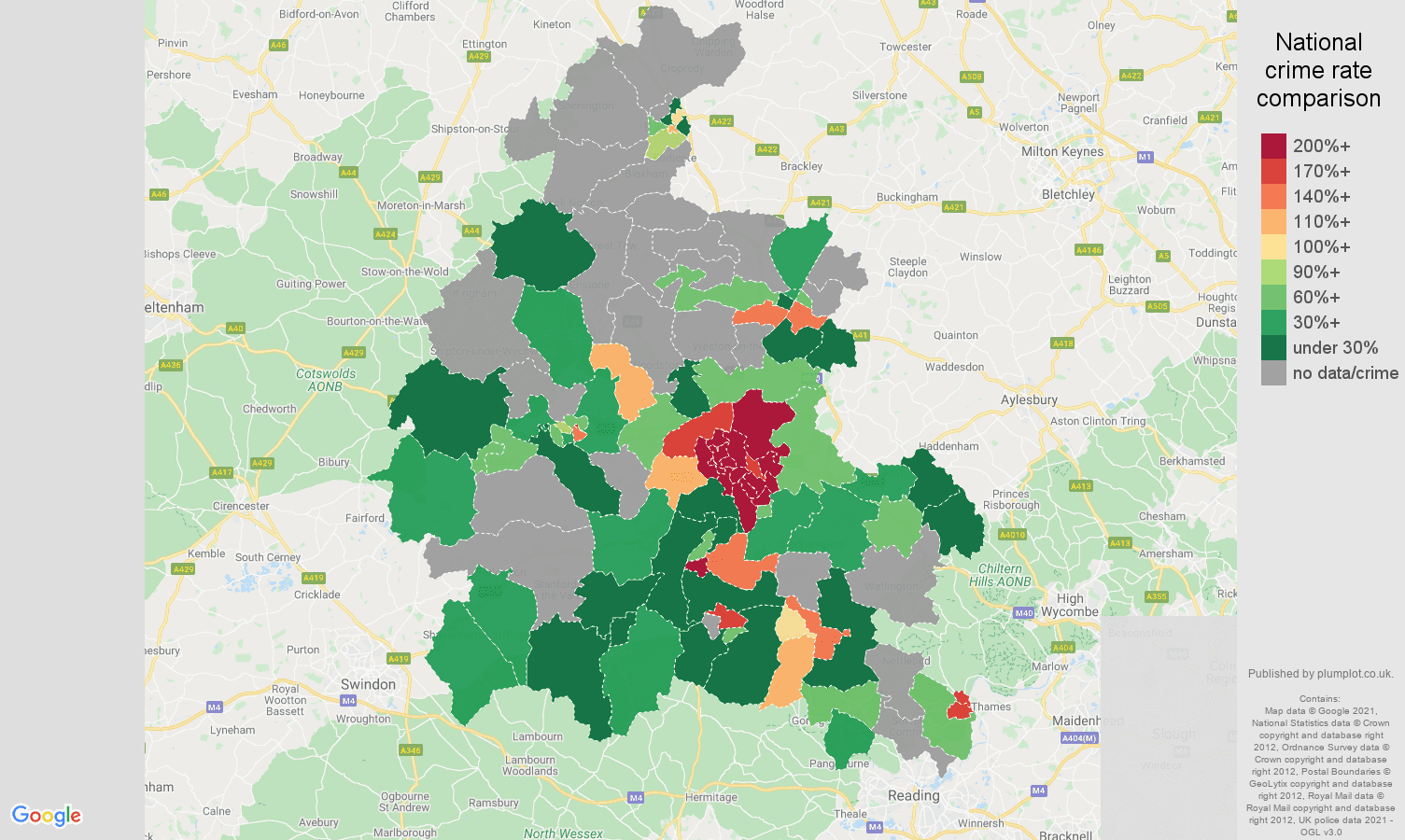 Oxfordshire bicycle theft crime rate comparison map