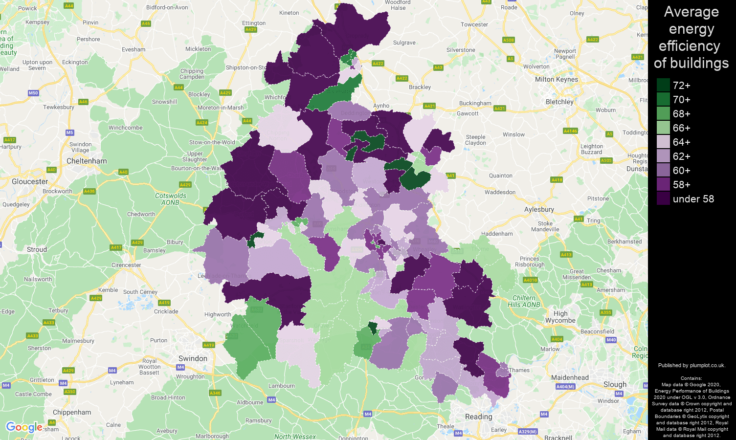 Oxfordshire map of energy efficiency of houses