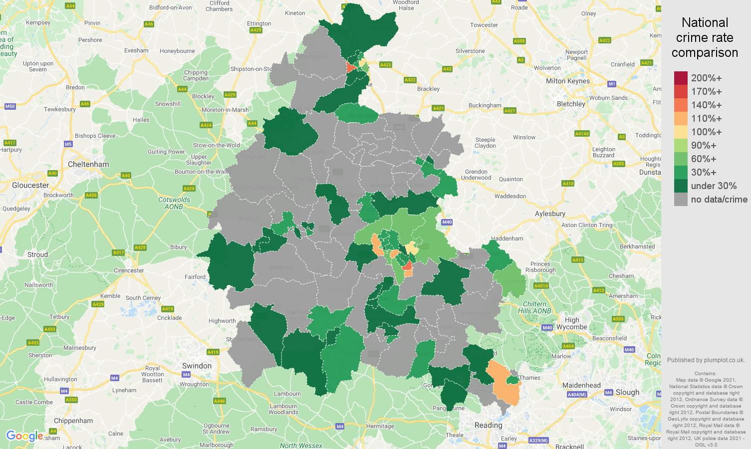 Oxfordshire robbery crime rate comparison map