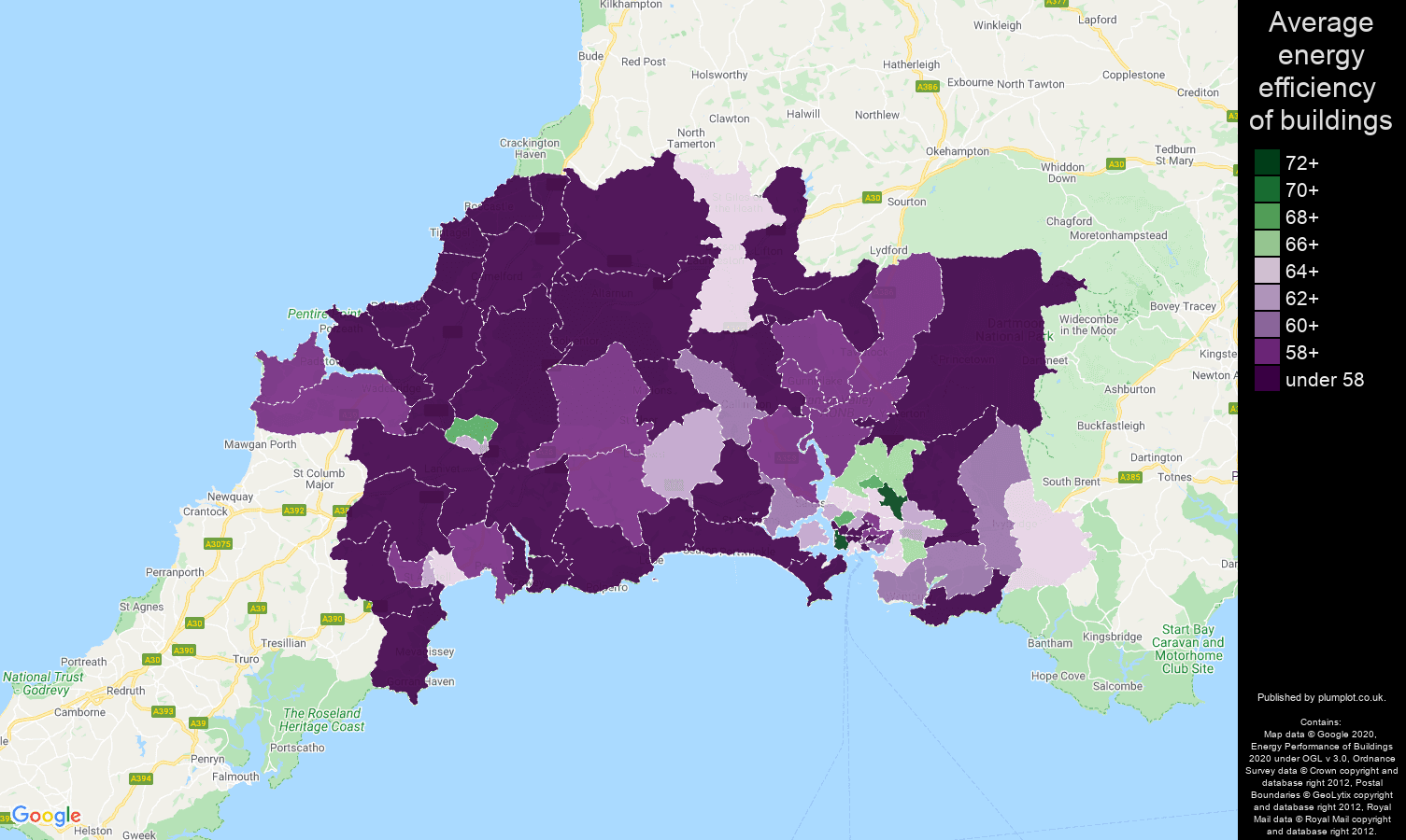 Plymouth map of energy efficiency of houses