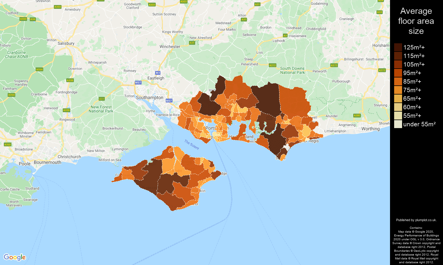 Portsmouth map of average floor area size of properties