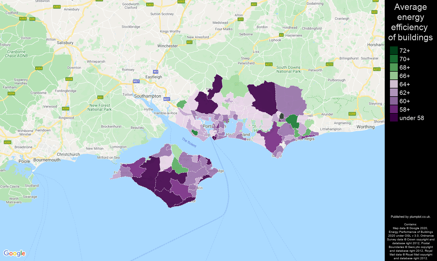 Portsmouth map of energy efficiency of houses