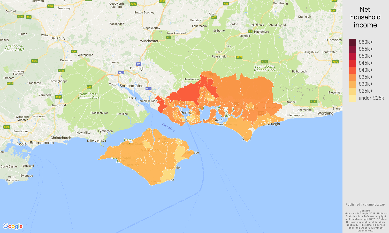 Portsmouth net household income map