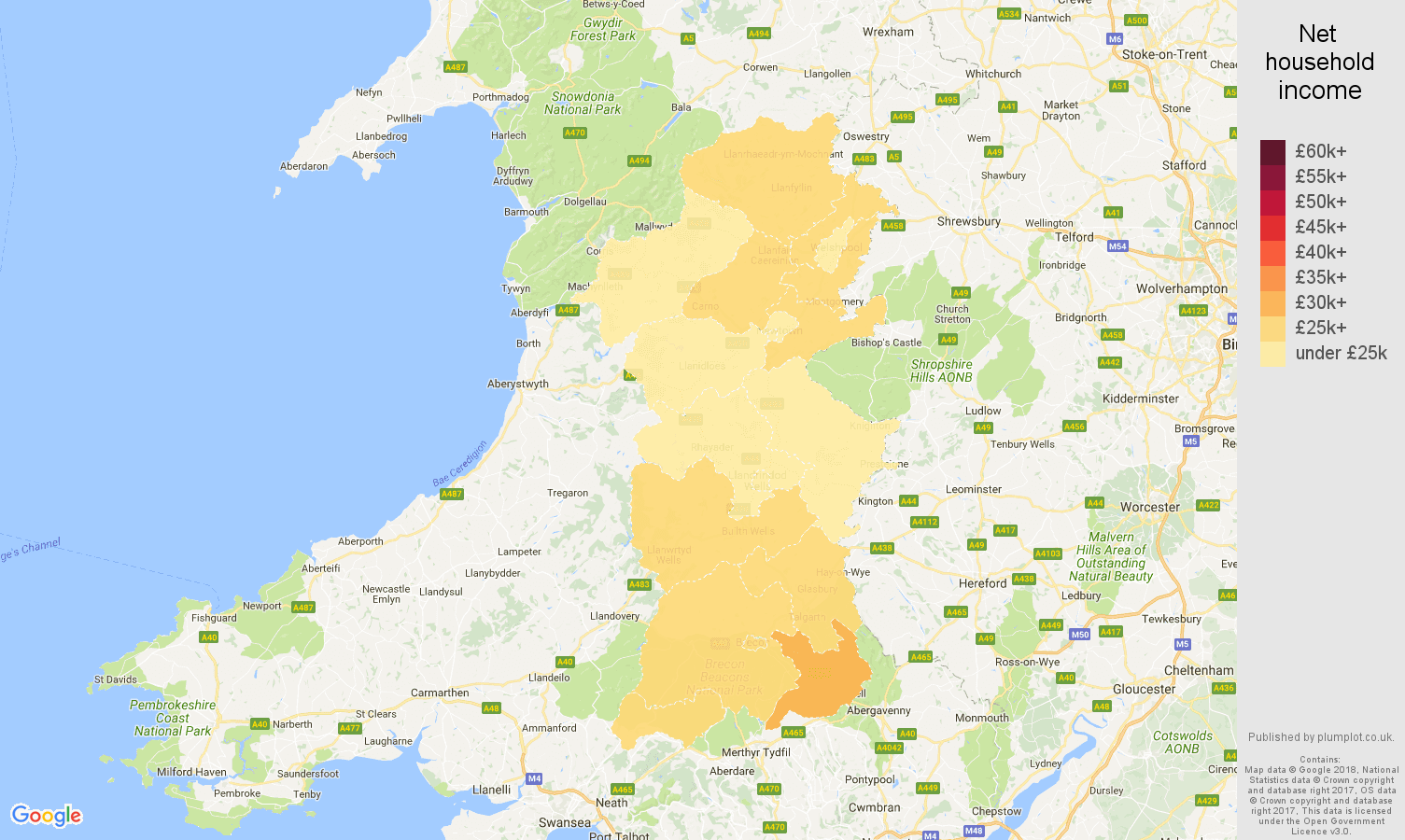 Powys net household income map