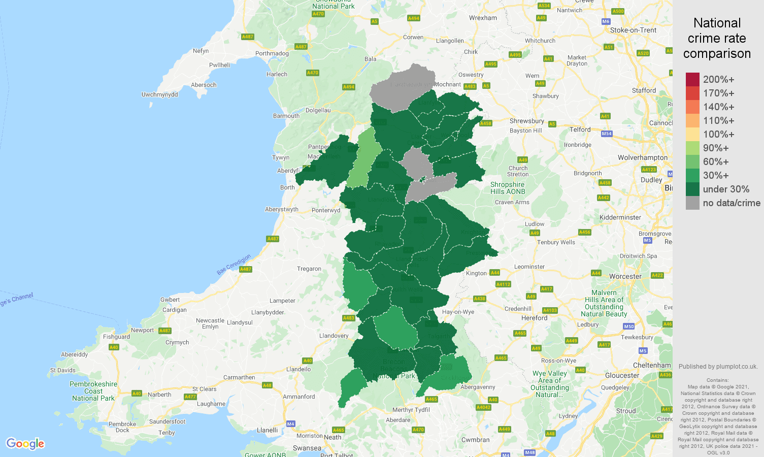 Powys vehicle crime rate comparison map