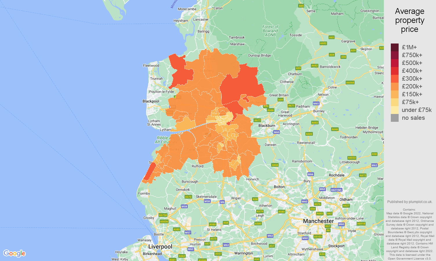 Preston house prices map