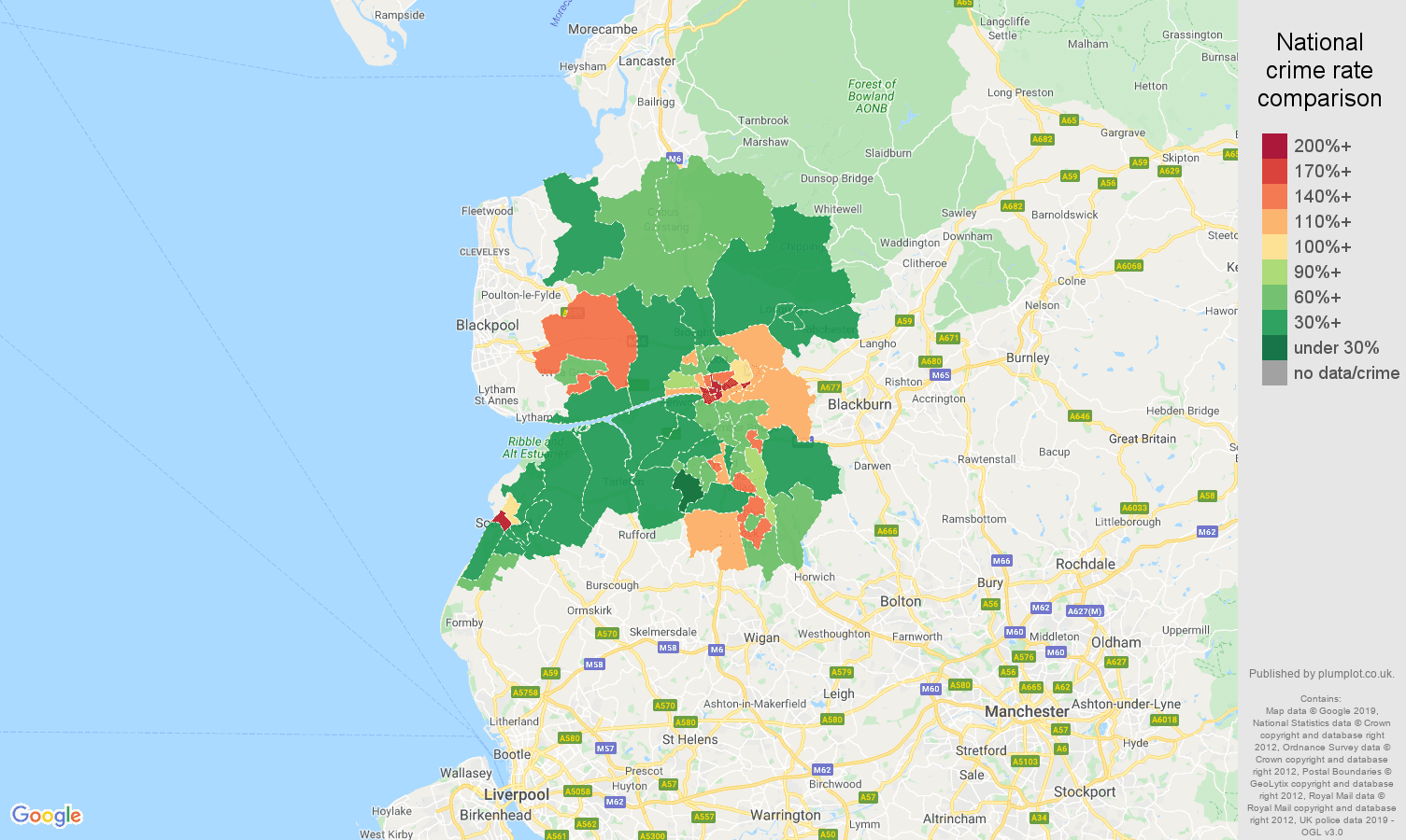 Preston other theft crime rate comparison map